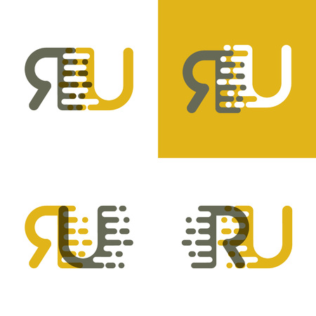 RU letters logo with accent speed in brown and dark yellow Vector illustration. Ilustração