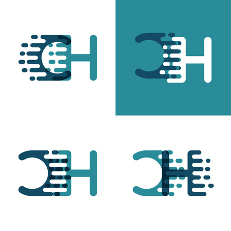 CH letters logo with accent speed in light green and dark blue