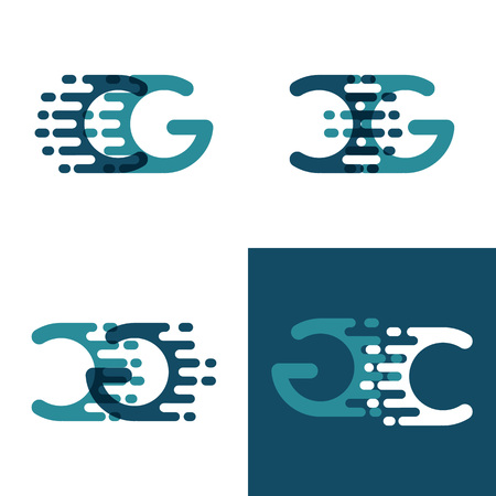CG letters logo with accent speed in light green and dark blue