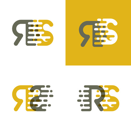 RS letters logo with accent speed in brown and dark yellow