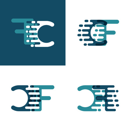 CF letters logo with accent speed in light green and dark blue