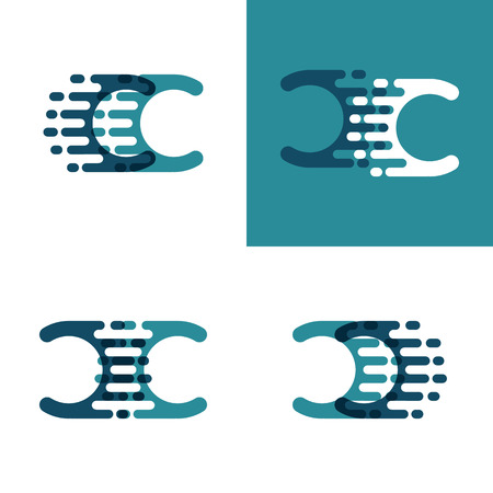 CC letters logo with accent speed in light green and dark blue
