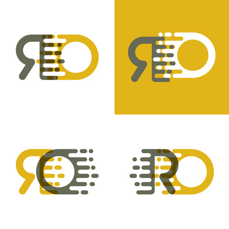 RO letters logo with accent speed in brown and dark yellow Vector illustration.