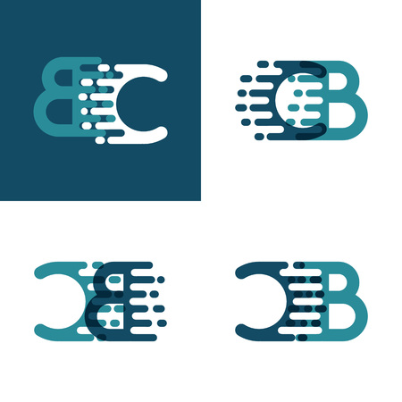 CB letters logo with accent speed in light green and dark blue Ilustrace