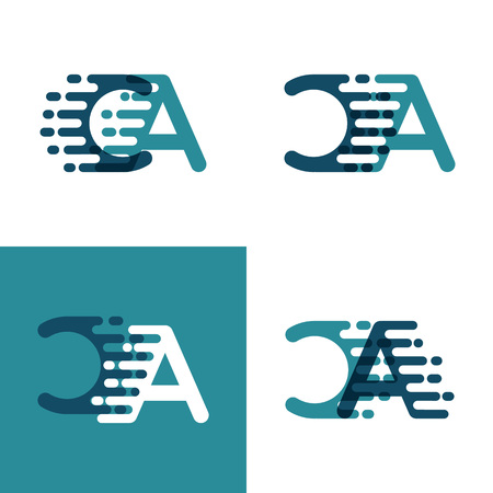 CA letters logo with accent speed in light green and dark blue Ilustrace