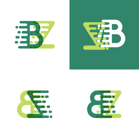 BZ letters logo with accent speed in light green and dark green 일러스트