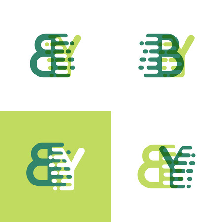 BY letters logo with accent speed in light green and dark green Ilustrace