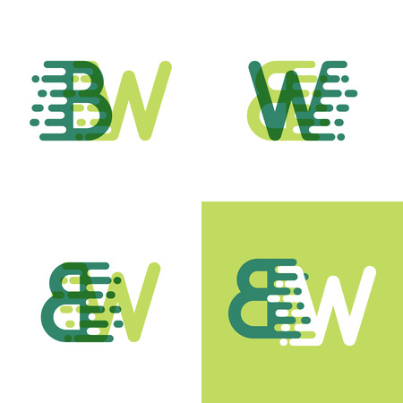 BW letters logo with accent speed in light green and dark green Ilustrace