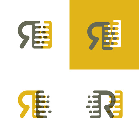 RI letters logo with accent speed in brown and dark yellow Vector illustration.