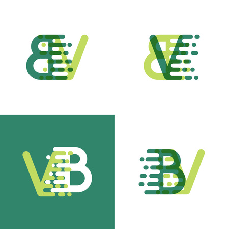 BV letters logo with accent speed in light green and dark green Ilustrace