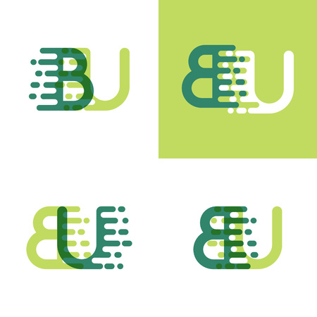 BU letters logo with accent speed in light green and dark green