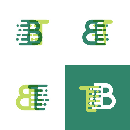 BT letters logo with accent speed in light green and dark green