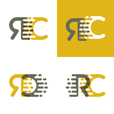 RC letters logo with accent speed in brown and dark yellow Vector illustration.