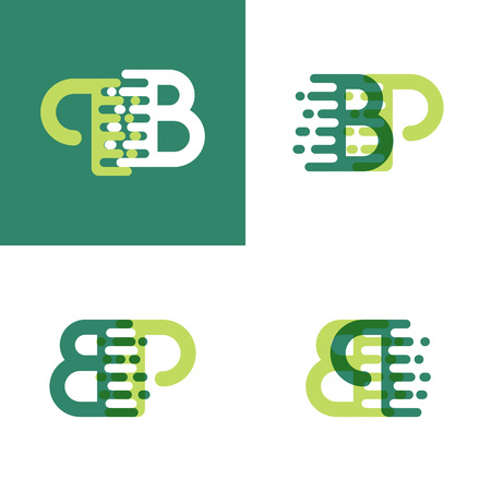 BP letters logo with accent speed in light green and dark green