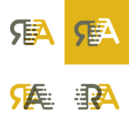 RA letters logo with accent speed in brown and dark yellow