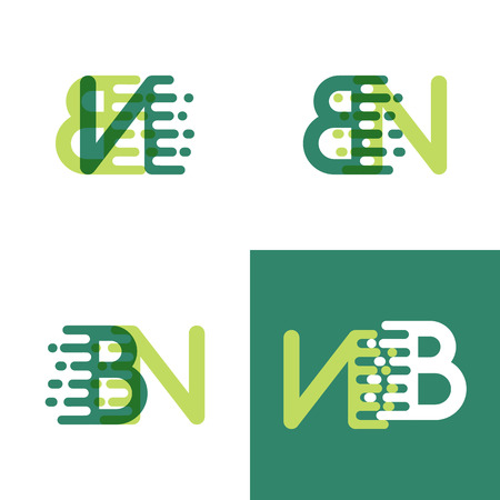 BN letters logo with accent speed in light green and dark green