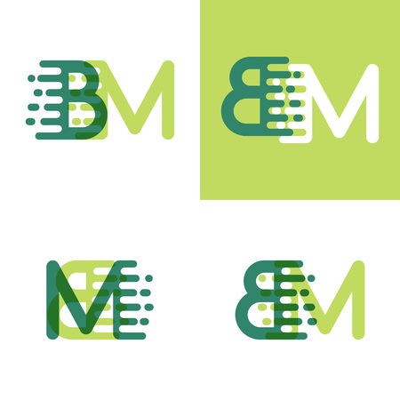 BM letters logo with accent speed in light green and dark green