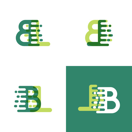 BL letters logo met accent snelheid in lichtgroen en donkergroen Logo