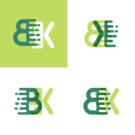 BK letters logo with accent speed in light green and dark green Ilustrace