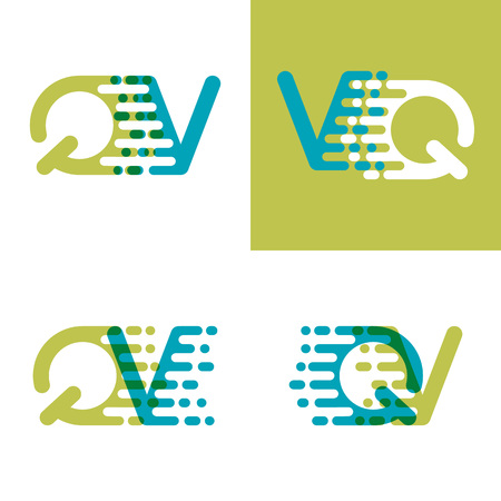 QV letters logo with accent speed in blue and light green