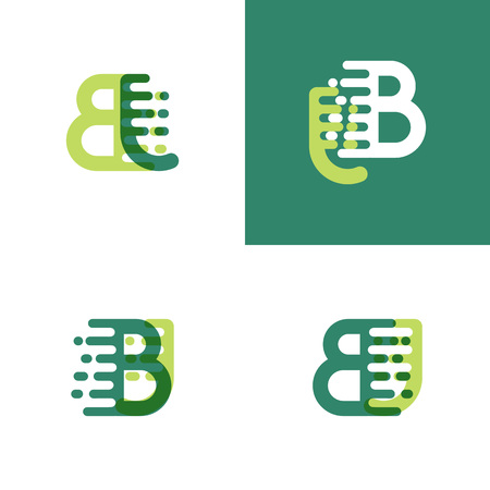 BJ letters logo with accent speed in light green and dark green Ilustrace
