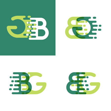 BG letters logo with accent speed in light green and dark green