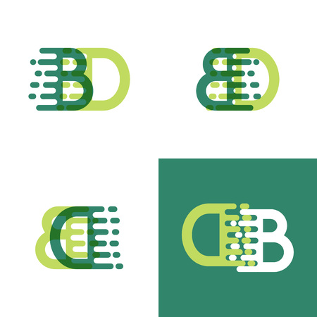 BD letters logo with accent speed in light green and dark green