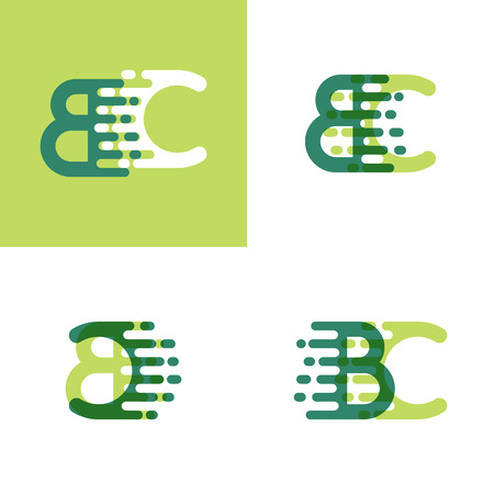 BC letters logo with accent speed in light green and dark green