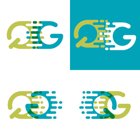 QG letters logo with accent speed in blue and light green 向量圖像