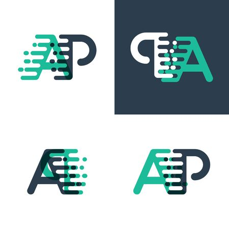 AP letters logo with accent speed in tosca green and dark blue Stock Illustratie