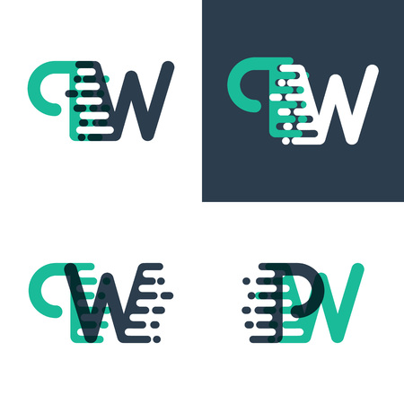 PW letters logo with accent speed in green and dark blue
