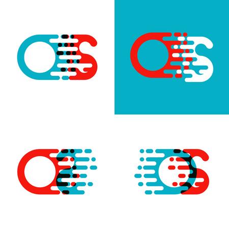 logotipo de letras de abc con la velocidad de asteroides en azul y rojo. ilustración vectorial .