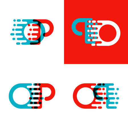 OP letters logo with accent speed in red and blue