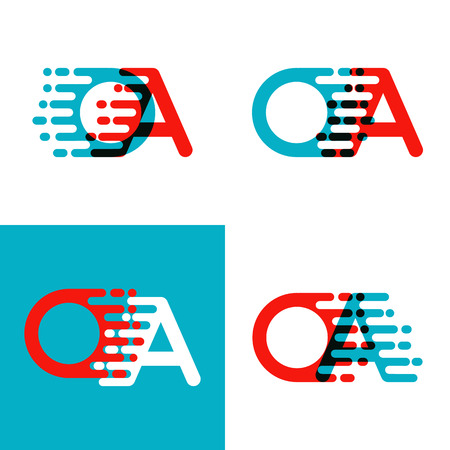 OA letters logo with accent speed in red and blue