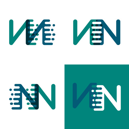 NN letters logo with accent speed in green and dark purple Vector illustration. 일러스트