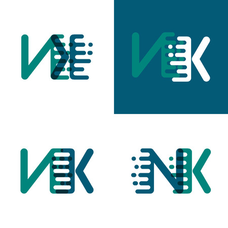 NK letters logo with accent speed in green and dark purple Illusztráció