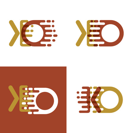 KO letters logo with accent speed in light brown and dark brown