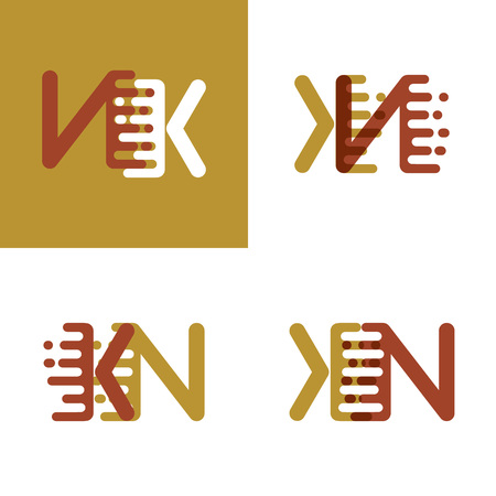 KN letters logo with accent speed in light brown and dark brown Illusztráció