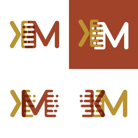 KM letters logo with accent speed in light brown and dark brown Vector illustration. Illustration
