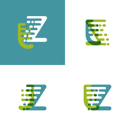 JZ letters logo with accent speed in light green and light blue