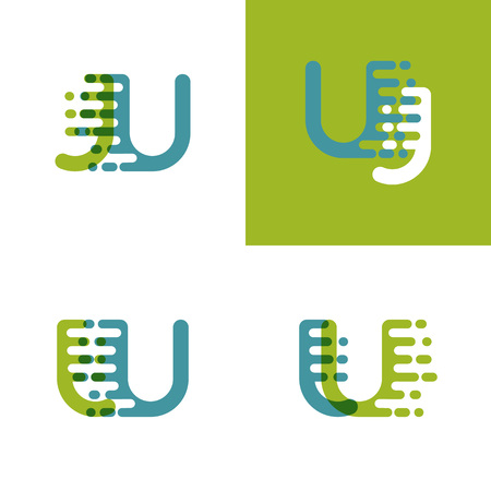JU letters logo with accent speed in light green and light blue