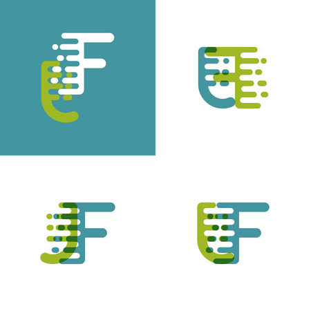 JF letters logo with accent speed in light green and light blue