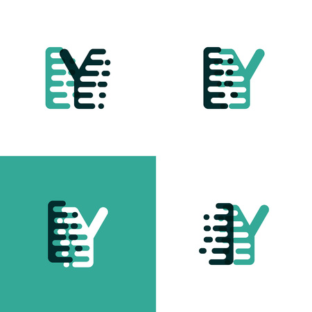 IY letters logo with accent speed in light green and dark green
