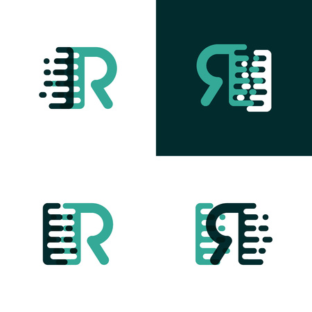 IR letters logo with accent speed in light green and dark green
