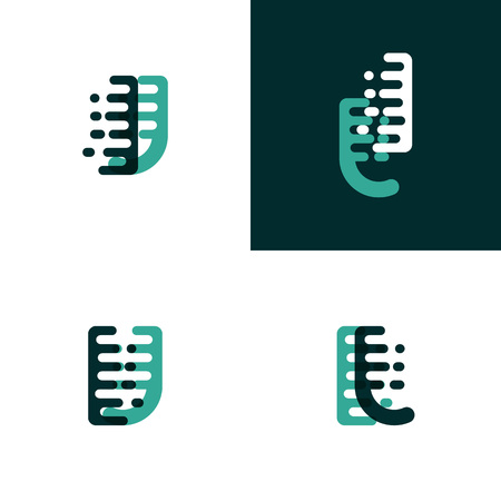IJ letters  with accent speed in light green and dark green Ilustração