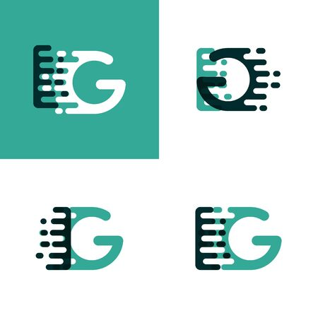 IG letters logo with accent speed in light green and dark green Vector illustration.