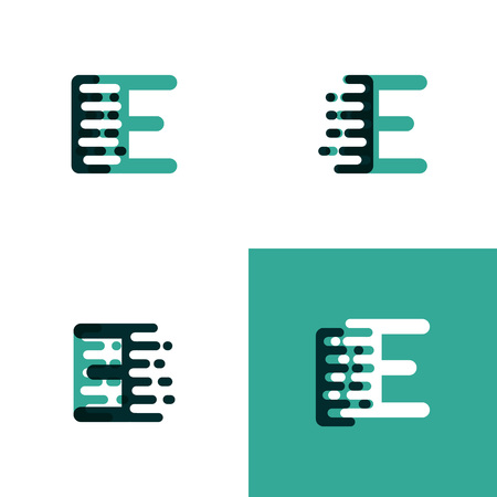 IE letters  with accent speed in light green and dark green Ilustração