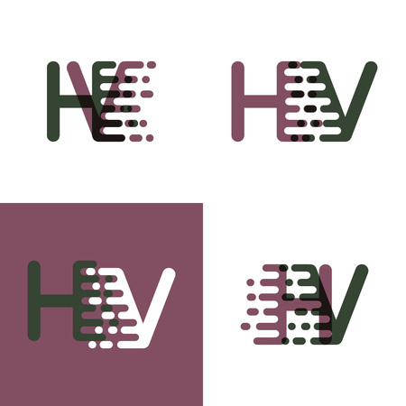 HV letters logo with accent speed in purple and dark green