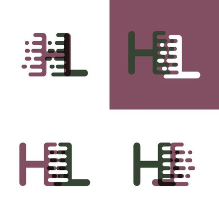HL letter with accent speed in purple and dark green 일러스트