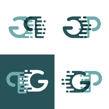 GP letters logo with accent speed in gray and dark green